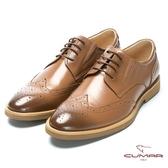 CUMAR 超輕舒適 舒適寬楦牛津皮鞋-棕色