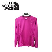 【The North Face 女 FlashDry 保暖圓領衫《紫紅》】CL78/休閒/戶外/長袖上衣