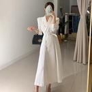OL洋裝 2020春秋新款韓版時尚顯瘦西裝領連衣裙長款雙排扣收腰大衣外套女 萬聖節鉅惠