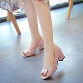 魚嘴涼鞋韓版粗跟高跟鞋舒適潮款女士復古單鞋休閒鞋 韓慕精品