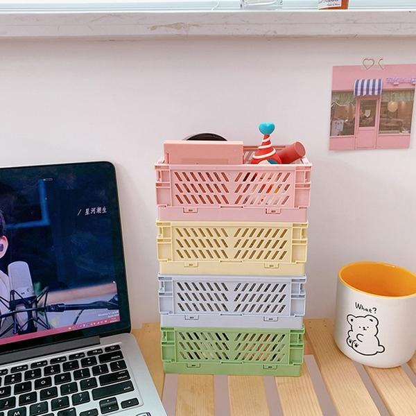【BlueCat】仿真水果籃 折疊式縷空方型收納盒(小) 收納筐 收納架 置物籃 置物架
