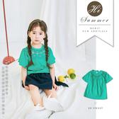純棉 蕾絲雕花圓領短袖上衣 湖水綠 氣質 蕾絲 女童短袖 女童上衣 女童裝 夏天 T恤 哎北比童裝