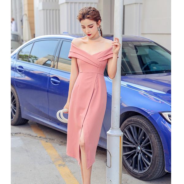 出清388 韓國風露肩一字領不規則過膝裙禮服短袖洋裝