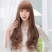 中長假髮韓系假髮女士長捲髮大波浪中長髮齊斜瀏海梨花頭套韓系逼真髮型
