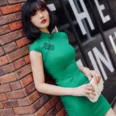 旗袍女夏新款日常改良短款連衣裙復古綠時尚簡約純色旗袍顯瘦