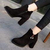 女鞋子秋冬季新款英倫風圓頭馬丁靴粗跟高跟靴子絨面百搭短靴