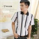 【大盤大】P70873 短袖POLO衫 M號 直條紋保羅衫 NG恕不退換 男 工作服 休閒口袋上衣 涼感