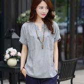 夏裝新款女裝韓版寬鬆短袖棉麻t恤女大碼休閒亞麻襯衫上衣潮 朵拉朵衣櫥
