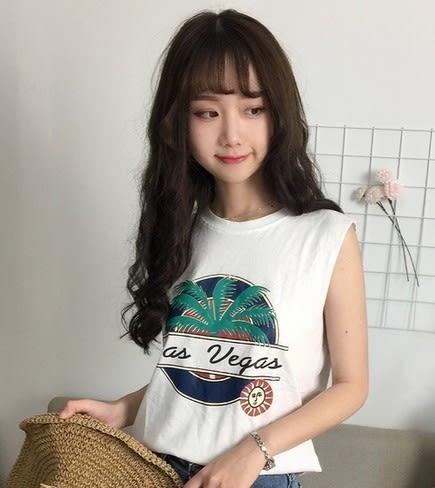 EASON SHOP(GU5368)字母卡通椰子樹背心圓領無袖T恤內搭衫女上衣服素色白棉T春夏裝韓版寬鬆