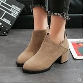 靴子 短靴 時髦百搭拼接V口高跟微尖頭短靴 萬聖節