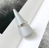 秒殺冷淡風S925戒指女復古羅馬數字字母雙層戒指開口指環新年交換禮物