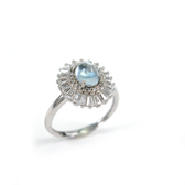 天然海藍寶純銀戒指 勇者之石 三月生日石 璀璨風華 925純銀寶石戒指/生日禮物情人禮物/KATE銀飾