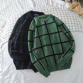 新款秋冬季圓領格子毛衣潮復古bf風套頭毛線衣加厚針織衫男