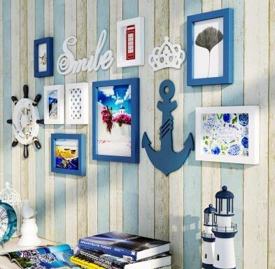 家居實木照片牆相框牆簡約現代掛牆相框創意組合地中海相片牆2002