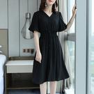 女短袖洋裝長裙大碼女裝短袖2020年新款夏季寬鬆胖mm顯瘦遮肚子V領雪紡連衣裙子