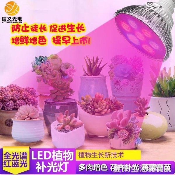 植物燈 led植物生長燈 多肉上色補光燈蔬菜育苗大棚全光譜植物燈泡E27燈220V『夏茉生活』