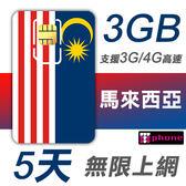 馬來西亞 5天 前3GB支援4G高速 無限上網 插卡即用