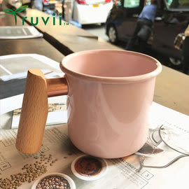 丹大戶外【Truvii】木柄琺瑯杯 400ml-珊瑚粉