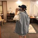 牛仔馬夾女春秋寬鬆日韓學生百搭bf原宿風工裝無袖坎肩馬甲外套  -炫科技