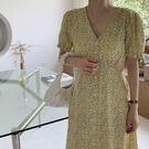 韓版 長款印花洋裝長裙~鵝黃色小花朵清新溫柔襯衫連身裙N601E愛尚布衣