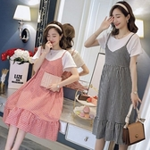 漂亮小媽咪 假兩件 洋裝 【D2139】 假二件 背心裙 洋裝 孕婦洋裝 孕婦裝 吊帶裙