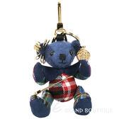 BURBERRY Thomas 蘇格蘭裙別針裝飾泰迪熊吊飾(軍服藍) 1820066-23