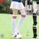 高爾夫 高爾夫球襪子 女士過膝長襪 三條槓百搭女款休閒長筒運動棉襪 四款可選