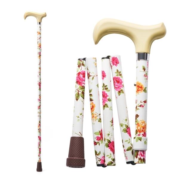 Merry Sticks 悅杖 繽紛生活折疊手杖Premium-象牙白紅玫瑰 (單支)【杏一】