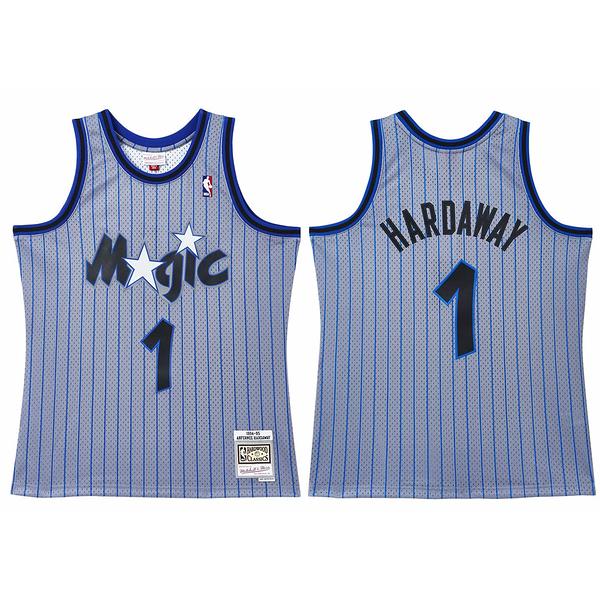 MITCHELL & NESS M&N 球衣 異色版 HARDAWAY #1 魔術 條紋 藍灰 (布魯克林) MNRLJE14C