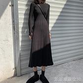 連身裙針織過膝長裙女秋冬季新款韓版修身內搭打底裙子中長款a字洋裝【凱斯盾】