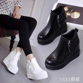 大尺碼內增高女鞋  厚底短靴坡跟馬丁靴高跟棉鞋春秋單靴 nm6789【VIKI菈菈】