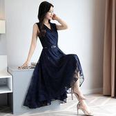 無袖洋裝無袖V領時尚蕾絲連身裙女夏裝裙子修身顯瘦名媛氣質長裙 全館免運