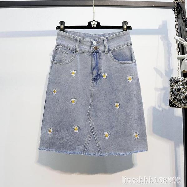 牛仔半身裙 大碼女裙子新款夏季200斤胖MM小雛菊下擺毛邊牛仔半身A字短裙 城市科技
