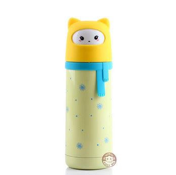 【易奇寶】日韓爆款 可愛雪女圍巾造型不銹鋼保溫杯300ml 黃色