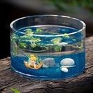 魚缸 玻璃花瓶 玻璃魚缸圓形桌面水培荷花缸 烏龜缸玻璃魚缸客廳擺件 城市科技DF