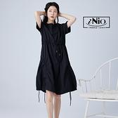 多層式不規則抽繩設計短袖造型長洋連衣裙-現貨快出【C1W3016】 iNio 衣著美學