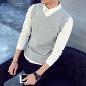 男士背心男冬季馬甲彈力青少年毛織背心修身型毛衣打底針織衫加厚