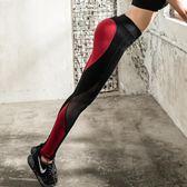 速干瑜伽運動褲女緊身長褲高腰提臀褲網紗拼接彈力緊身跑步健身褲   mandyc衣間