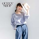 Queen Shop【01023366】配色條紋雙口袋長袖棉麻上衣*現+預*