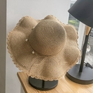 遮阳帽 沙灘帽子女夏韓版時尚海邊防曬太陽帽防紫外線遮陽大沿可折疊草帽
