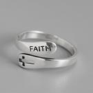 《 QBOX 》FASHION 飾品【RD127】精緻個性FAITH信仰十字架S925純銀/泰銀開口戒指