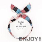 韓國小清新格子頭帶發箍少女心超仙寬邊兔耳朵發帶復古森女系頭飾