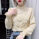 長袖襯衫~娃娃衫~#時尚百搭上衣 蕾絲半高領洋氣打底衫N161B日韓屋