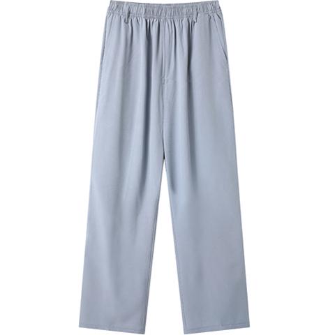 男士冰絲休閒褲鬆緊腰夏季超薄款爸爸中老年人褲子男爺爺西褲寬鬆 快速出貨