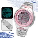 【時刻表‧CASIO_手錶】POPTONE_粉嫩愛心動畫雙顯錶_鋼帶/粉〈LCF-10D-4A〉