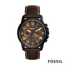 FOSSIL GRANT 冒險家精神三眼計時腕錶-黑棕 46mm FS5088