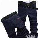 男士直筒寬鬆長褲 修身百搭黑色男褲子休閒褲 小艾時尚