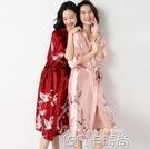 性感睡衣女夏季薄款冰絲綢睡袍紅色結婚新娘晨袍新婚伴娘春秋和服 依凡卡時尚