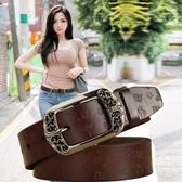 純牛皮復古針扣女士皮帶簡約百搭韓國真皮休閒時尚裝飾寬原創腰帶 朵拉朵