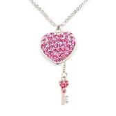粉紅水鑽心桃紅水鑽鑰匙吊墜長項鍊